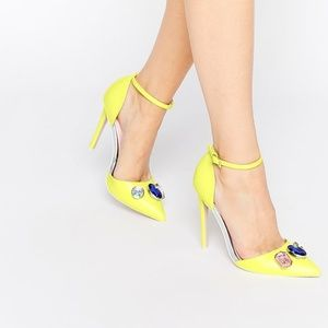 ASOS Yellow Prize Embellished Pointed Heels NIB